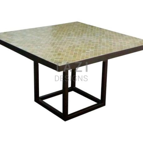 Square Mosaic Table – 48″ Outdoor Table in Olive Beige 2