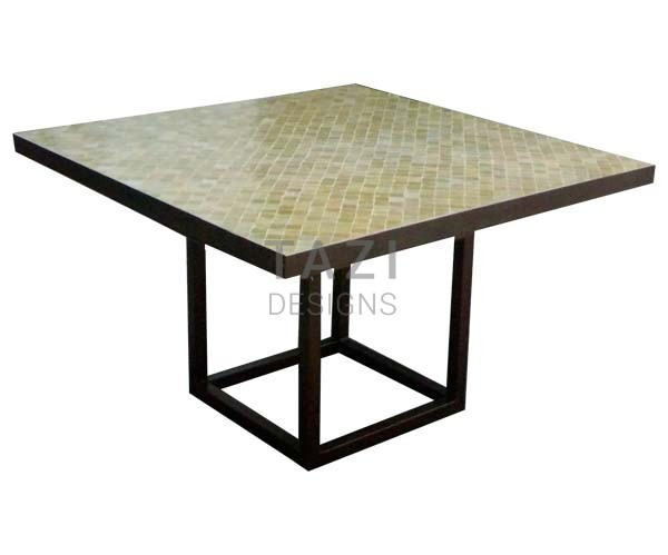 Square Mosaic Table U2013 48u2033 Outdoor Table In Olive Beige 2