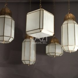Brass & Frosted Glass Lamps