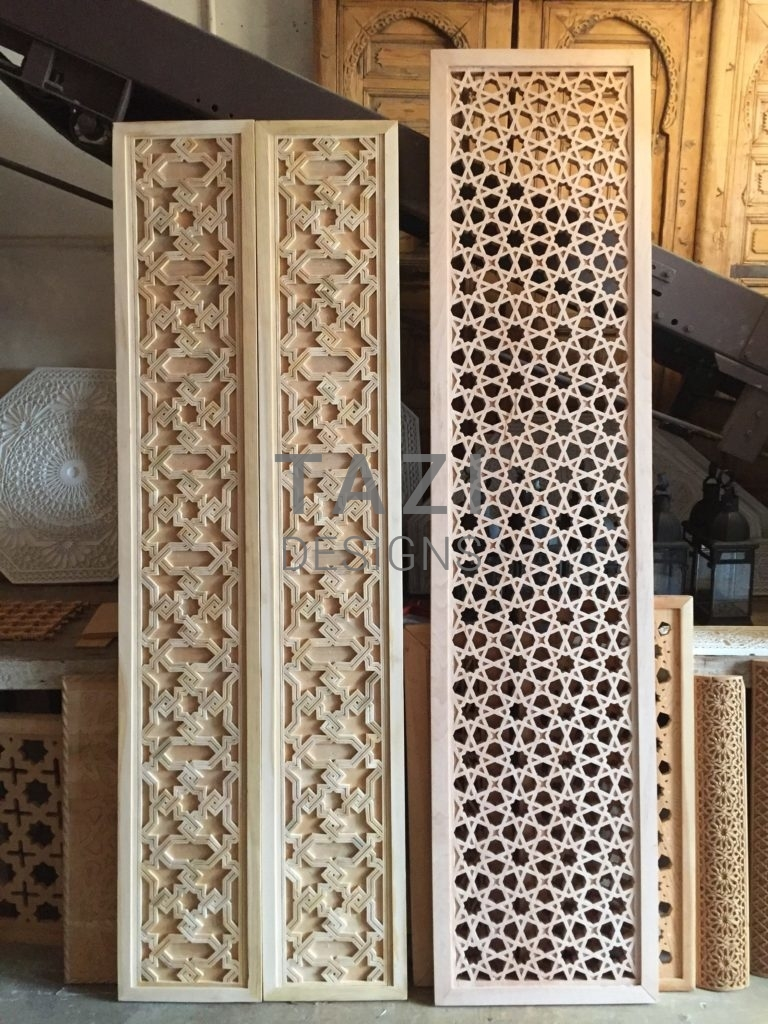 Handcarved Moorish Woodwork Tazi Designs