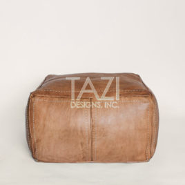 Tan Leather Pouf – 24″ Square