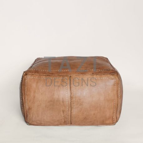Tazi Designs Moroccan Tan Square Pouf