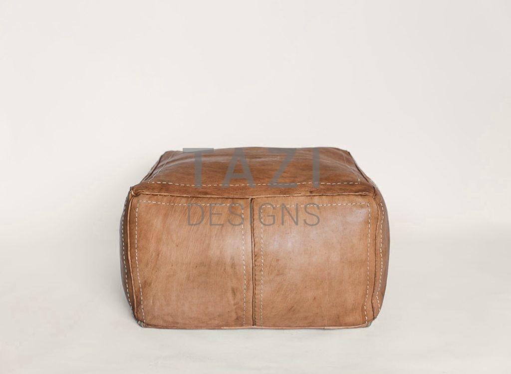 Tan Leather Pouf 24 Square Tazi Designs