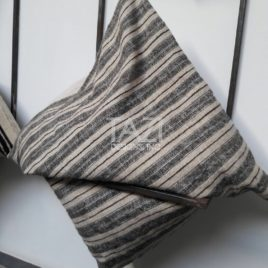 Gray Stripe Wool Cushion