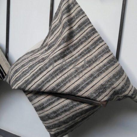 Gray Stripe Wool Cushion by Tazi Designs