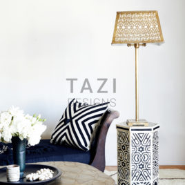 Ivory and Black Moroccan End Table